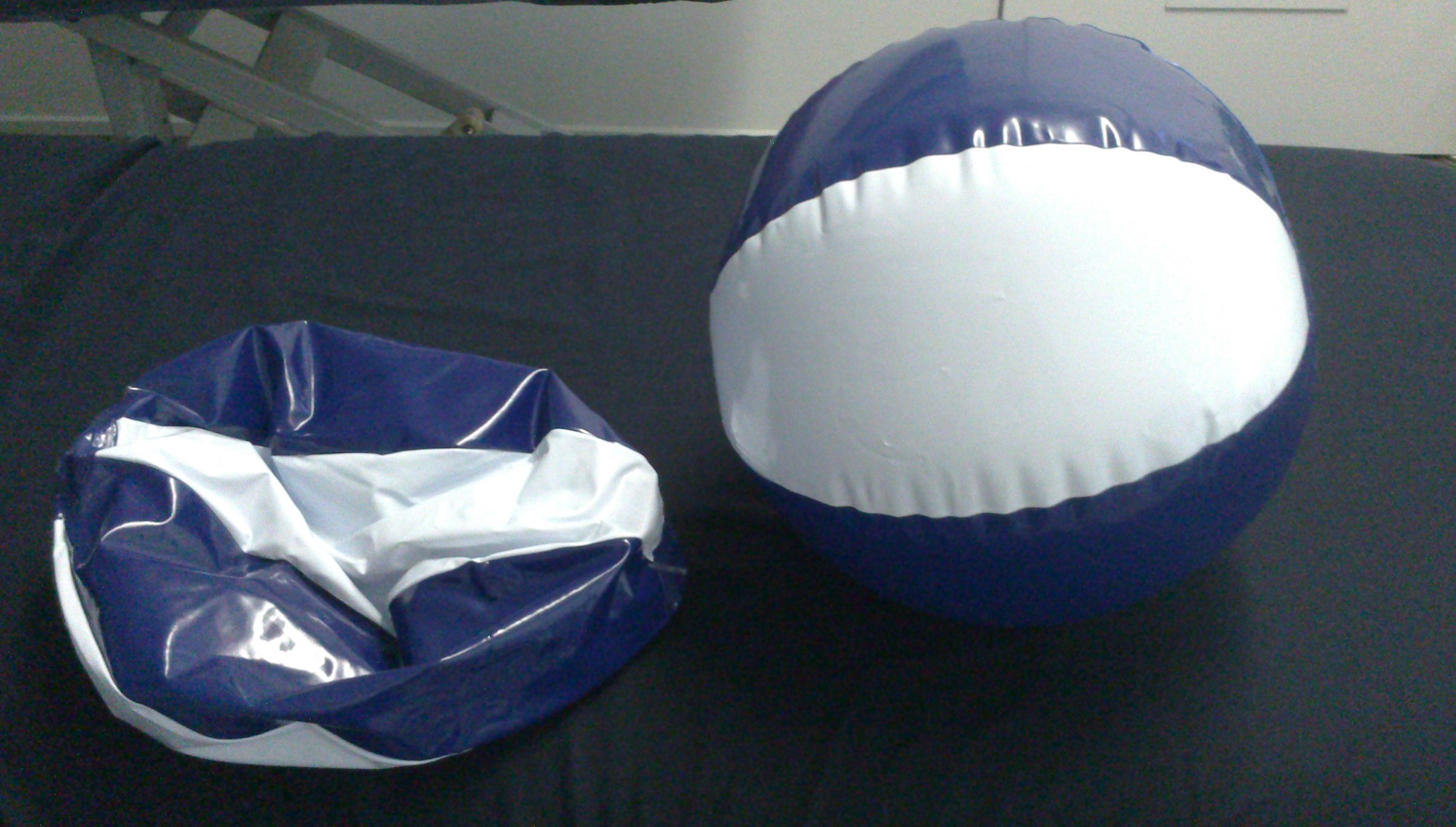 A ball Inflated with two breaths and a full size ball